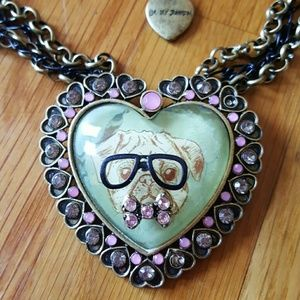 NWT BETSEY JOHNSON Cameo Critters Pug Necklace